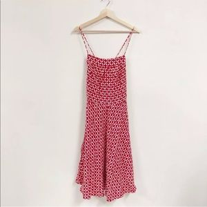 Ann Taylor Loft Dress SZ 12 L Tie Back A Line Red